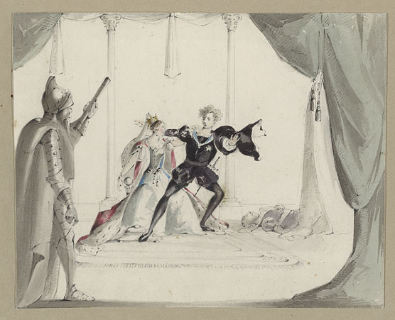 Watercolor: Hamlet, Gertrude, the Ghost, and Polonius (dead)