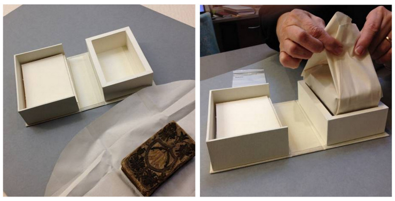 preparing a custom-made box and wrapper for a fragile binding