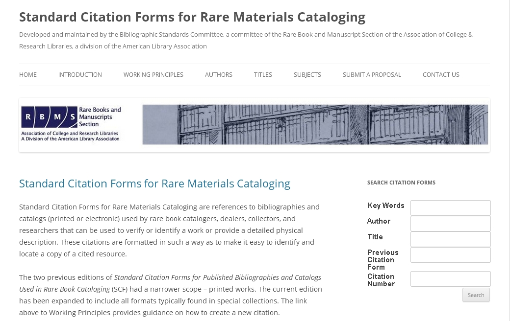 Screenshot of Standard Citation Forms for Rare Materials Cataloging
