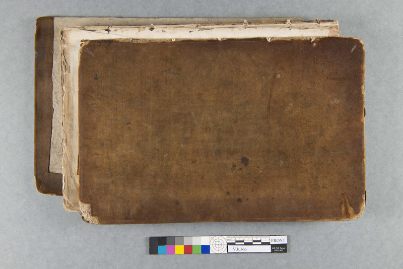 the front cover of Rebecca Winch's receipt book before treatment