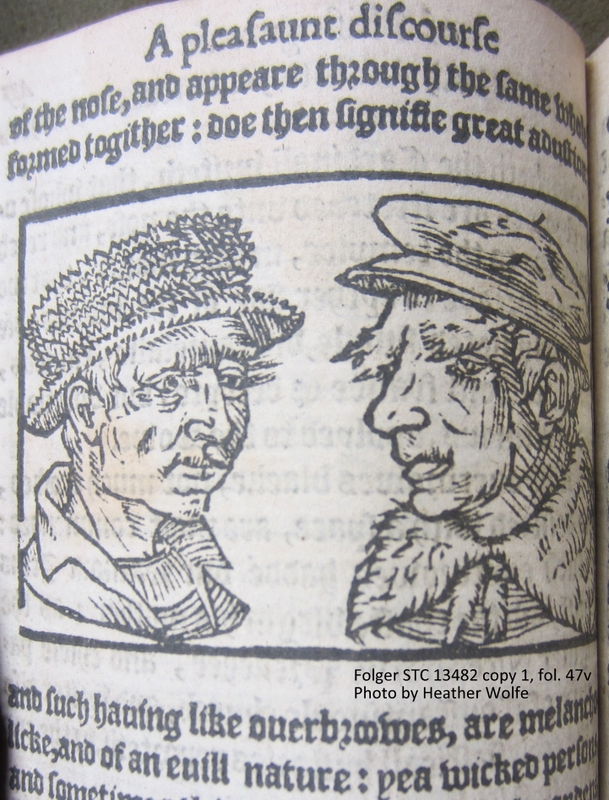 The man on the left has a unibrow in Thomas Hill's Contemplation of Mankind (London, 1571).
