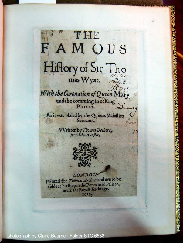 """Sir Thomas Wyatt (sig. A1r). Part of the inscribed date of reading (""""17[??]"""") is visible on the right-hand edge of the page, which has been severely cropped."""