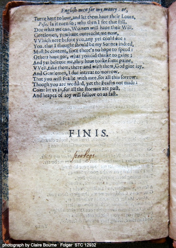 """A reader has inscribed """"perlegi"""" in Italic hand on the last page of Englishmen for My Money (sig. K3v)"""