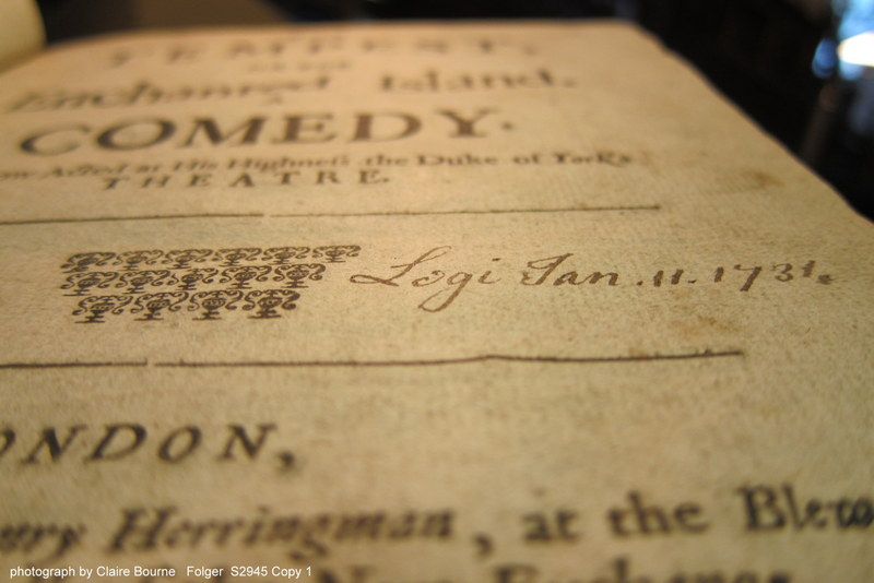 """This read has also inscribed """"Legi"""" and dated the inscription January 11, 1731 on the title page of The Tempest (sig. A1r)"""