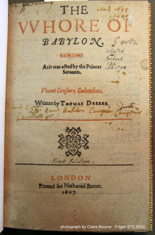 """The Whore of Babylon (1607) title page features a range of readers' notes, including an inscription that it was """"read"""" (sig. A1r)"""