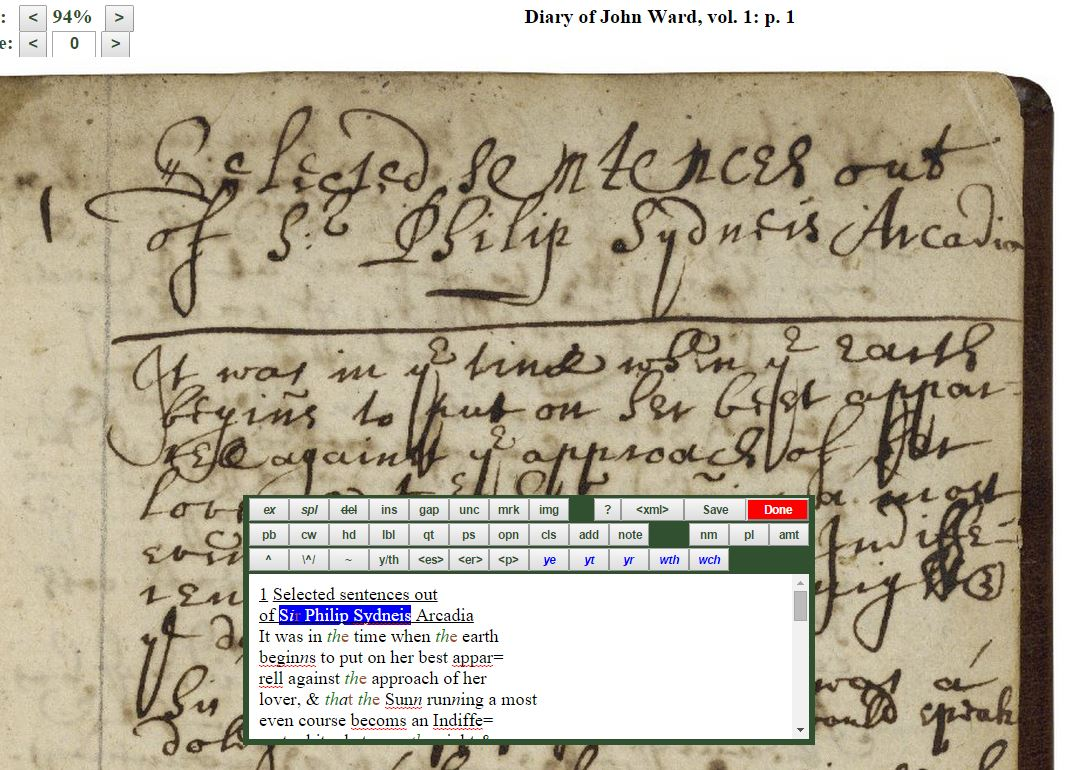 a screenshot of John Ward's diary being transcribed in Dromio (V.a.284, p. 1)