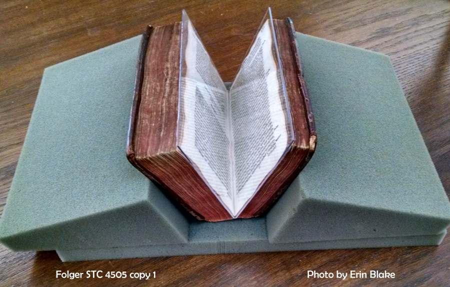 Plastic wedge holding a book open for reading.
