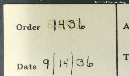 Closeup of the order number on the acq card