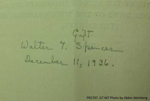 Gift of Spencer, December 11, 1936