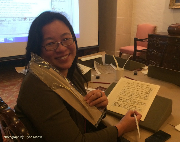 Folger Fellow Erika Lin with her golden quill (carefully prepared by Elyse Martin, Folger Institute Program Assistant)