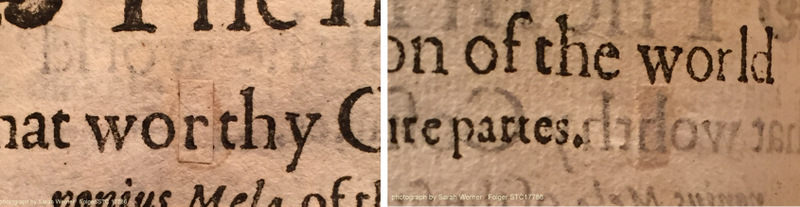 "on the left, the cancel slip for ""r""; on the right, the verso of the leaf showing the original ""h"" (STC 17786; sig. C1r)"