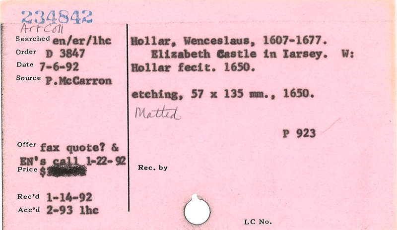 Accession-level record from Folger card catalog