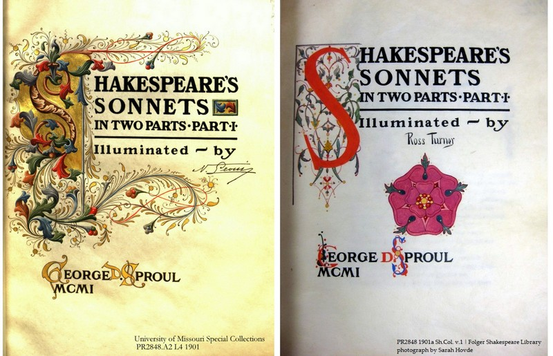 Nestore Leoni's title page illumination (left; courtesy of the University of Missouri Libraries); Ross Turner's (right; Folger copy)