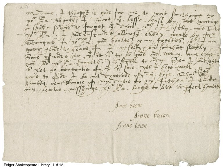 Letter from Anne Bacon (L.d.18)