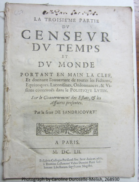 The pasted label with information on the provenance and, perhaps, the author of this pamplet.