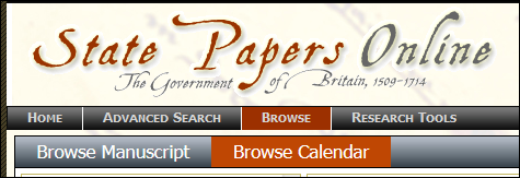 The browse menus of State Papers Online