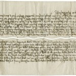 But loose leaves can be organized in different ways—here a vellum deed is cut into three parts that can only be reunited with each other, with the markings and wavy lines creating a security system guarding against fraud.