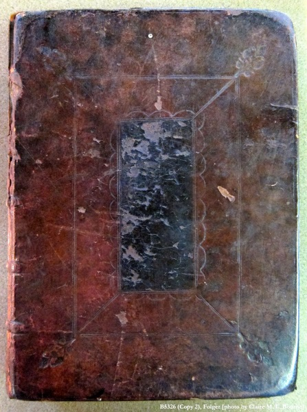 leather binding cover of a book, the middle almost black, the outter part lighter brown