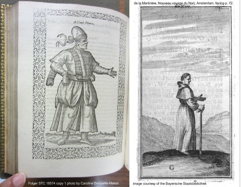 two similar figures of men posing, right from a book of costumes, left from de la Martinere