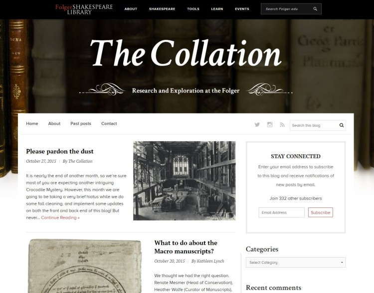 Screen shot of new-look Collation home page