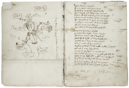 Left page contains doodles of dragons heads and a man wearing foppish clothing; right page contains handwritten text
