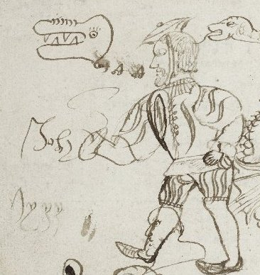 detail of drawings, showing the foppishly dressed man