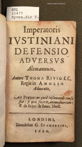 Title page of Sir Thomas Ryves's defense of Justinian