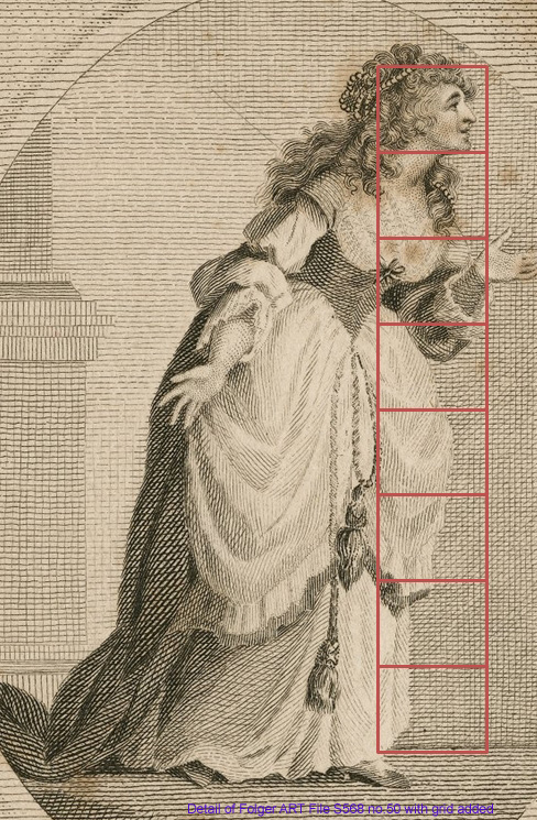 Full length portrait of a woman with grid showing proportional height