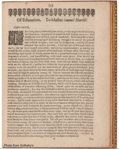 Page from Milton's On Education