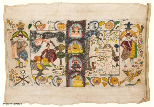 Embroidered cloth intended to be used as a book binding
