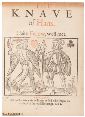 Bi-color title page of The Knave of Harts