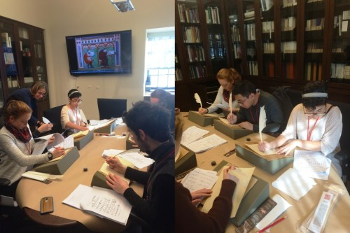 Curator of Manuscripts, Heather Wolfe, works with the Amherst Fellows on the proper method to hold a quill. Practice makes fewer ink blots?