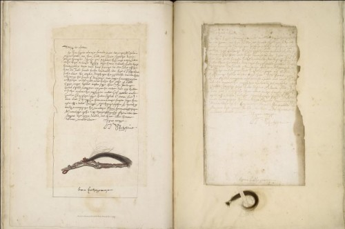 Folger MS W.b.496. Shakespeare's letter to Anne Hathaway, with facsimile on left and Ireland's autograph manuscript copy on right.