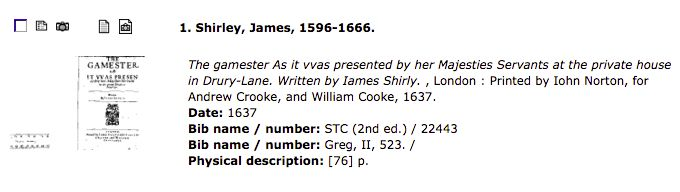 EEBO result for Gamester, lacking any mention of the Folger