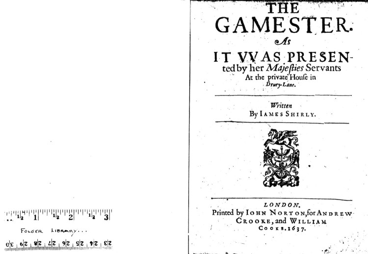 "EEBO image of the title page for Gamster, with a ruler on the left page labeled ""Folger Library"""