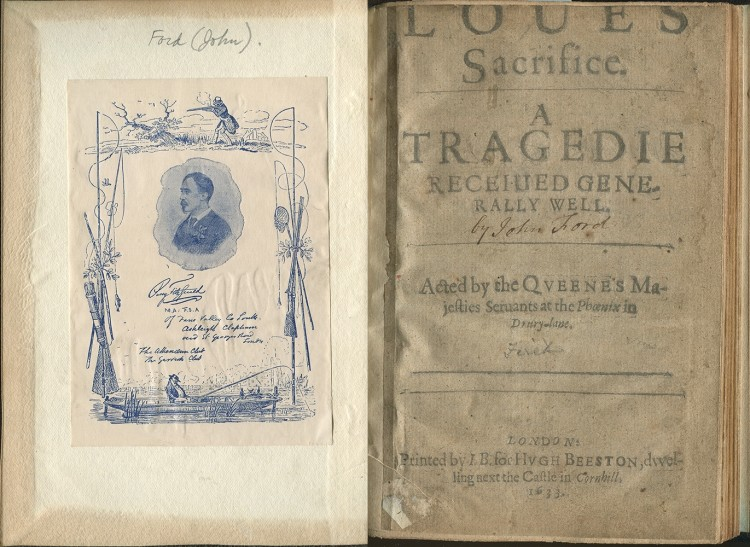 photographs of the bookplate and title page from the Williams copy of Love's Sacrifice.