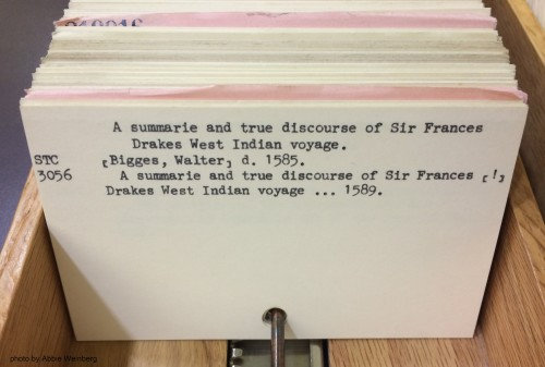 Card for Bigges's <em>A summarie and true discourse of Sir Frances Drakes West Indian voyage</em> under the title.