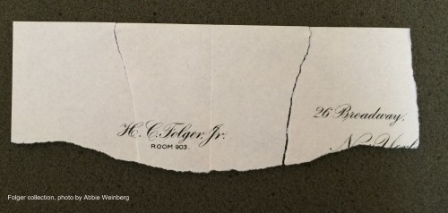 two scraps of paper with Mr Folger's letter-head