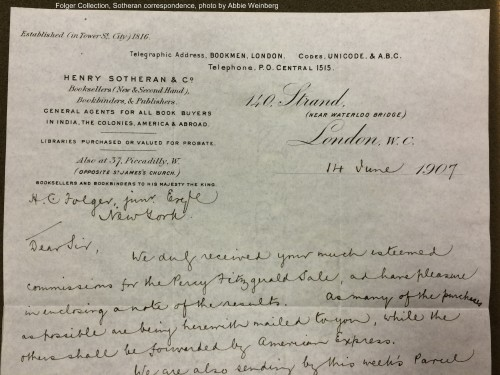 Henry Sotheran's letter of June 14,1907 to Henry Folger, discussing the results of the Fitzgerald sale.