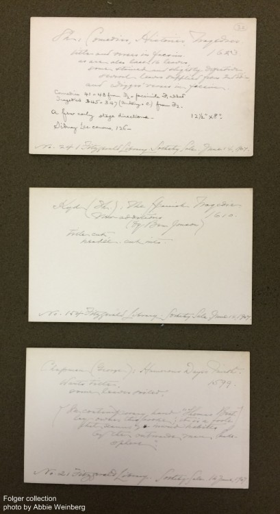 handwritten cards with bibliographic information