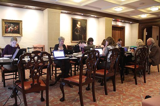 Editing away at the Early Modern edit-a-thon (image via Wikimedia Commons).