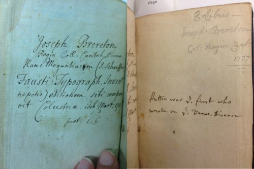 RC 201.1 H8 Cage. Left: Brereton's inscriptions on the front flyleaves. Right: Inscription on a back flyleaf with Joseph Brereton's name. Photographed by Caroline Duroselle-Melish.