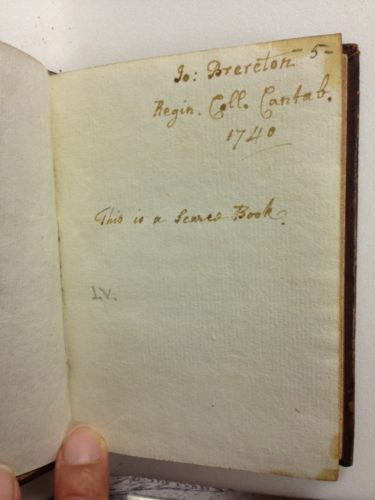 STC 7346 copy 1. Inscription by Brereton in another book in the Folger collections. Photographed by Caroline Duroselle-Melish.