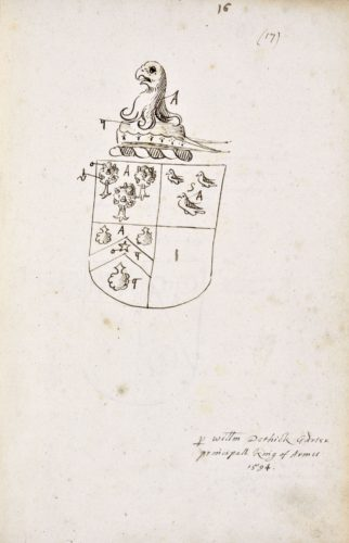 Unidentified coat of arms in College of Arms MS Dethick's Grants X, fol. 16.