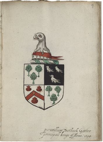 Unidentified coat of arms in Folger MS V.a.156, fol. 9.