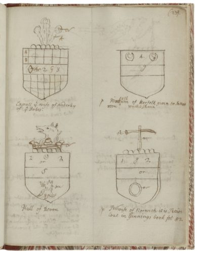 This is the page from V.a.350 that precedes the page with Shakespeare's coat of arms. The manuscript has been fully digitized.