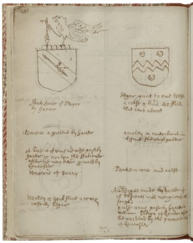 Shakespeare's coat of arms depicted in Folger MS V.a.350.