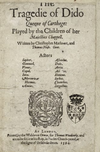 title page for The Tragedie of Dido