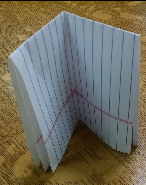 Sheet of notebook paper folded in half three times to imitate octavo format.