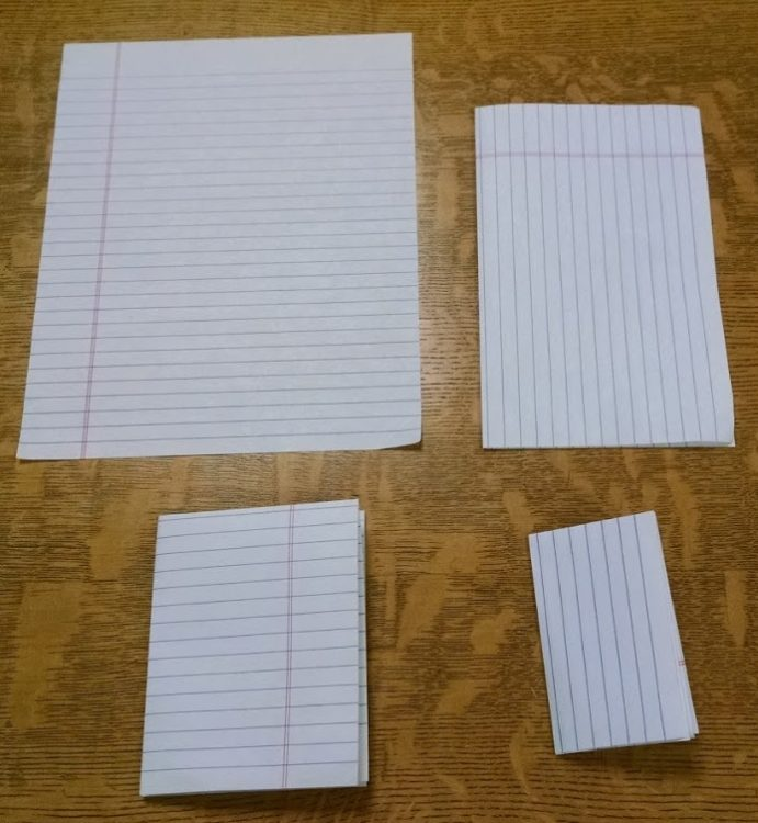 Four sheets of notebook paper imitating a full sheet (unfolded), a folio (folded once), a quarto (folded twice), and an octavo (folded three times).